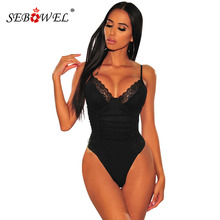 SEBOWEL New Woman's Sleeveless Black/Neon Yellow Bustier Lace Ruched Bodysuits F
