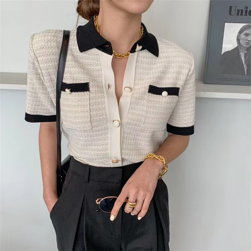2020 Summer Japanese Style Turn down Collar Short Sleeve Thin Short sleeved Ice Silk Knit Womens Shirt Coats Tops Blouses