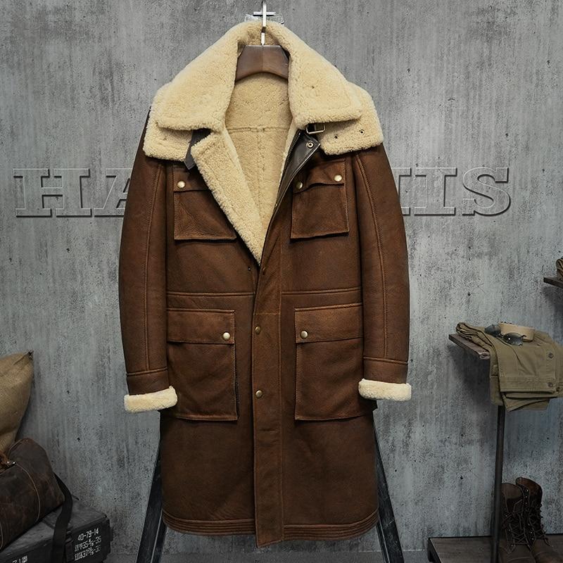 Long Witner Sheep Shearing Genuine Leather Men Vintage Wool Jacket Real Fur Coat Mens Clothing PM-W-1823 YY201