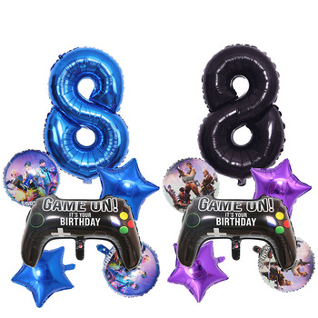 6pcs/set Fortnite Birthday Party Decoration Balloon Set Age Number 0 to 9 Optional Aluminum Film Balloon Kid's Christmas Gift 1