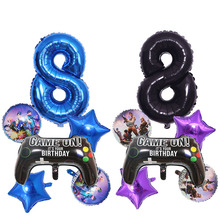 6pcs/set Fortnite Birthday Party Decoration Balloon Set Age Number 0 to 9 Optional Aluminum Film Balloon Kid's Christmas Gift