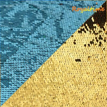 Double Face Sequins Fabric For Handbags Garments DIY Tissue Sewing Fabric Material Craft Making Accessories-Turquoise/Gold image