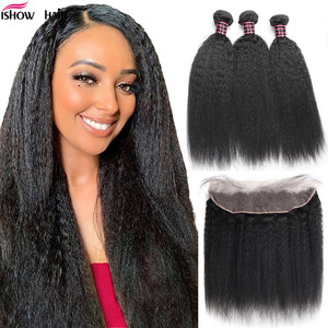 Ishow Hair Brazilian Hair Weave Bundles With Frontal Kinky Straight Human 3 Bundles Yaki Hair With Lace Front Non Remy Hair