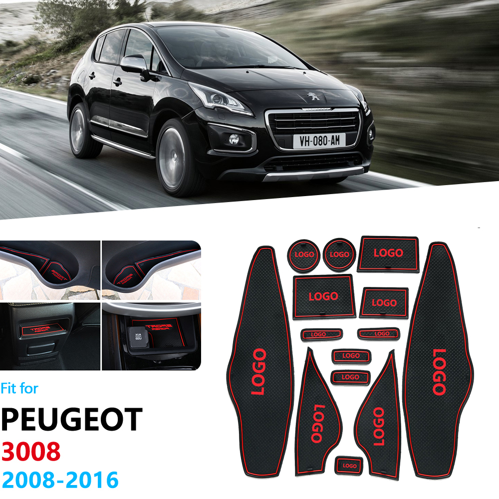 For Peugeot 3008 2008~2016 Anti-Slip Gate Slot Pad Rubber Cup Mat Accessories Car Stickers 2009 2010 2011 2012 2013 2014 2015 image
