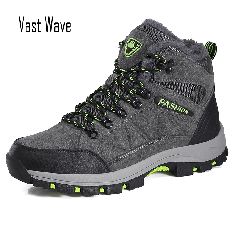 Vastwave Unisex Men Hiking Boots Plush Warm Women Snow Boots Waterproof Men Ankle Boots Lace-Up Outdoor MaleWinter Shoes 39-45