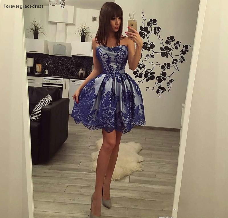 2019 Cheap Blue Lace Cocktail Dress Popular A Line Mini Short Semi Club Wear Homecoming Graduation Party Gown Plus Size