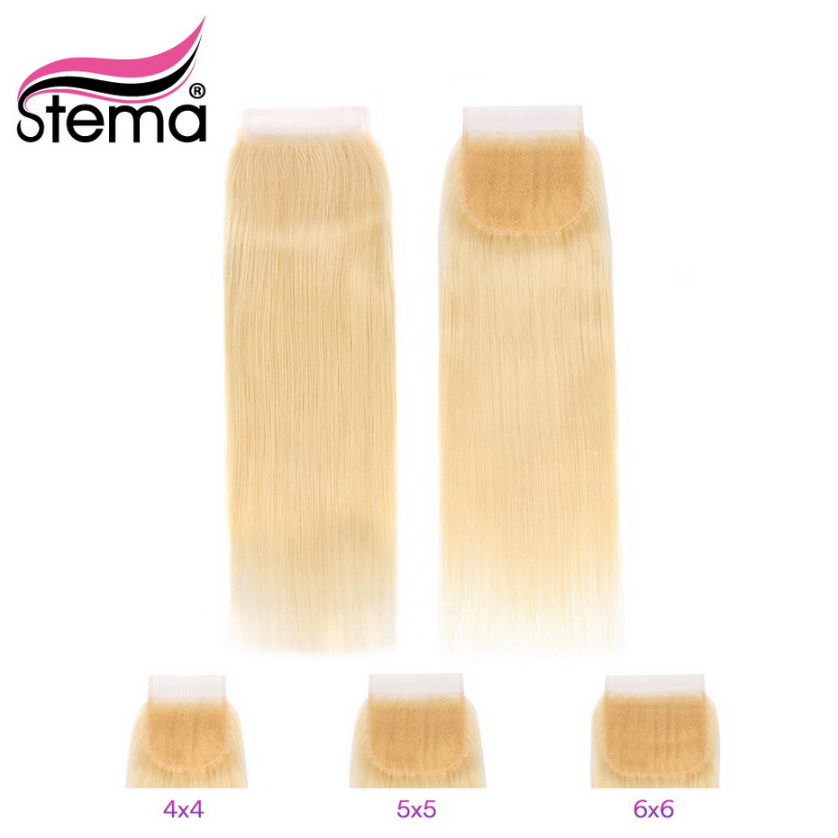Stema 4x4 <font><b>5x5</b></font> 6x6 Straight <font><b>Lace</b></font> <font><b>Closure</b></font> with Baby Hair #<font><b>613</b></font> Blonde Free Part 8-22Inch Brazilian Remy Human Hair Free Shipping image