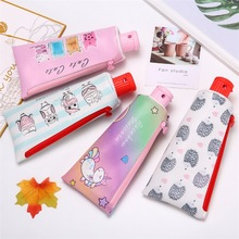 Toothpaste design pencil case cartoon pencilcase for girls stationery zipper pen box PU leather bag school office supply