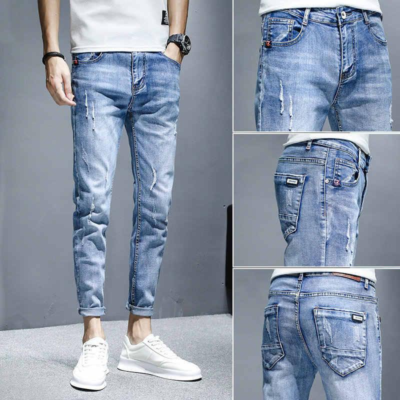 Pantalones Vaqueros Elasticos Para Hombre Jeans Coreanos Para Adolescentes Mallas Tobilleras Rasgadas Informales Delgadas De Verano Venta Al Por Mayor 2020 Pantalones Vaqueros Aliexpress