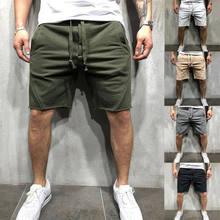 Calções masculinos esportes em execução casual elástico simples calças de verão praia ginásio calças dos homens carga fitness jogging treinamento shorts calças