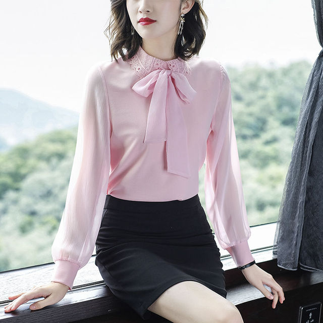 Women's Spring Autumn Style Chiffon Blouses Shirt Women's Bow Long Sleeve Solid Color Korean Elegant Tops DD9028 2