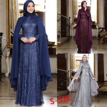 Muslim Abaya Scarf Dress Sets Women Plus Size