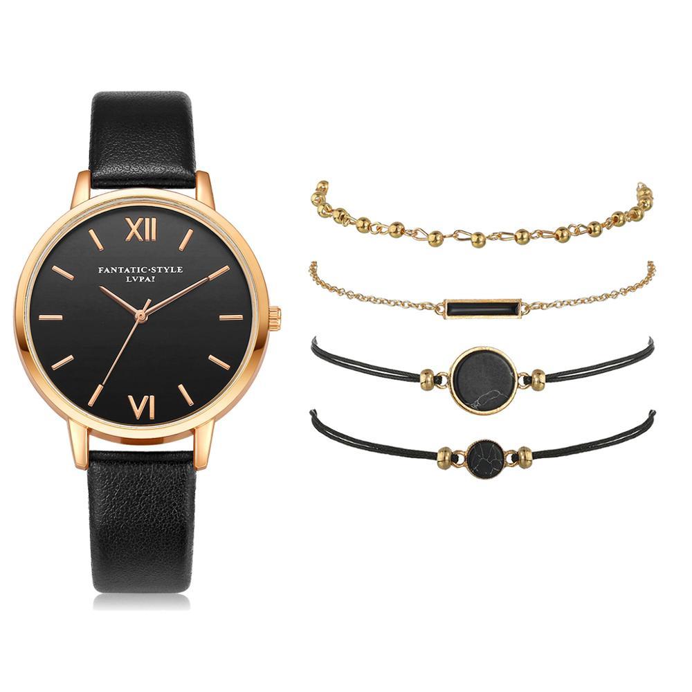 5pcs Set Top Style Fashion Women's Luxury Leather Band Analog Quartz WristWatch Ladies Watch Women Dress Reloj Mujer Black Clock 4