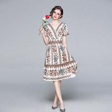 Zuoman mulheres verão elegante com decote em v vestido festa de alta qualidade longo floral festa robe femme vintage designer vestidos casuais