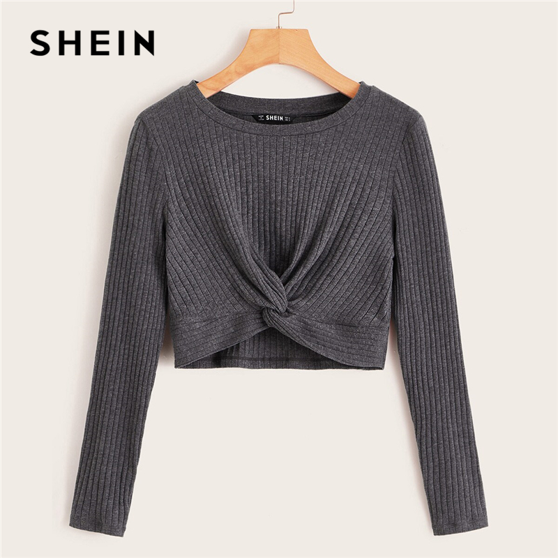 SHEIN Solid Twist Front Rib-knit Crop Top Fitted T Shirt Women Autumn Winter Long Sleeve Round Neck Casual Cute Tshirt Tops