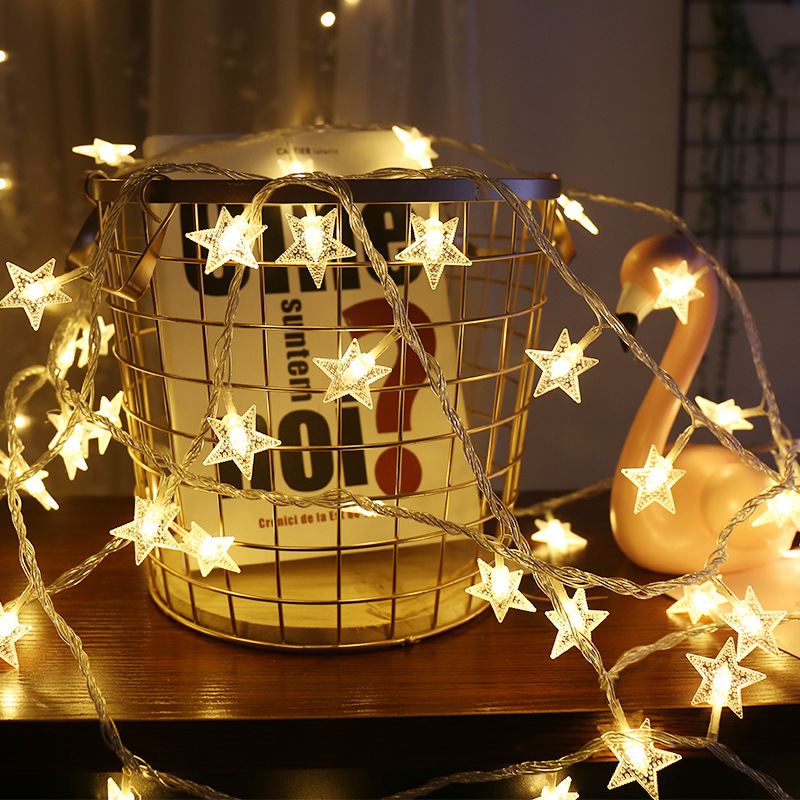 New Year Christmas LED Star String Lights Fairy Garland Waterproof For Christmas Wedding Home Decoration Battery Powered 1.5M/3M