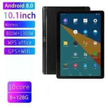 10.1 Polegada tela ips android 8.0 10-core tablet pc buraco redondo 8gb + 128gb duplo sim cartão slots 3g telefone chamada com gps fm