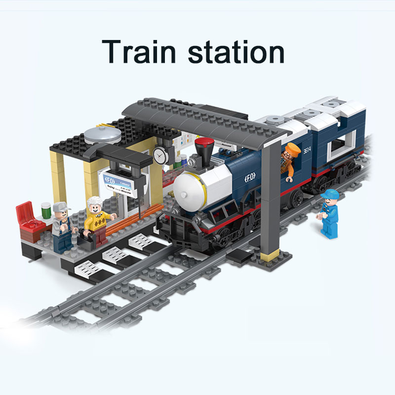 LegoINGlys Train Station City Train Track Rail Way Building Blocks Bricks Toys For Children Christmas Gifts 10259