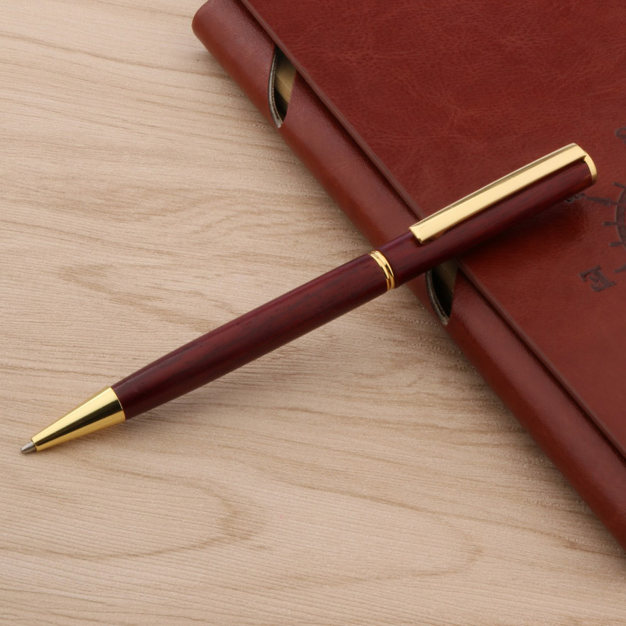 Good Quality Wooden Ballpoint Pen Fashion Design Red Silver Trim Stationery Student Office School Supplies Leather Bag