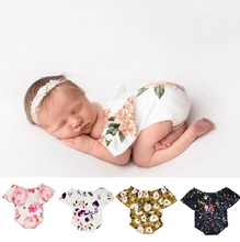 Newborn Baby Girl  Flower Color Sleeveless Off Shoulder Romper Jumpsuit Outfit Photograph Props