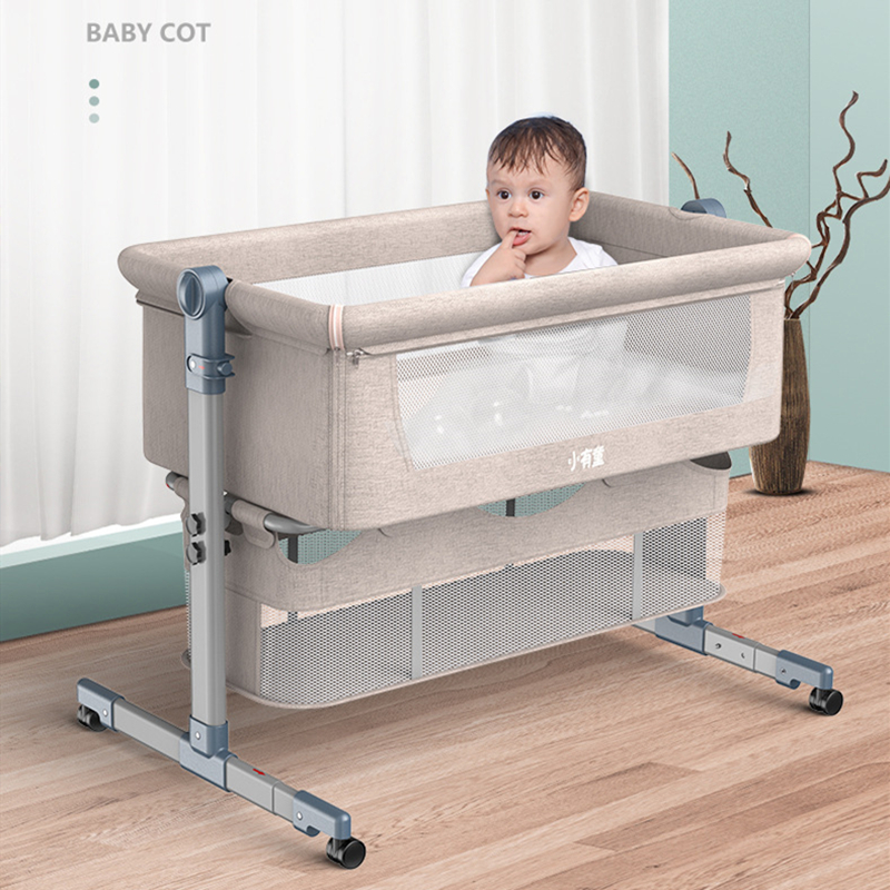 Crib Stitching Bed Removable Folding Portable Bionic Baby Cradle Baby Bed Newborn Bb Crib With Roller Mosquito Net