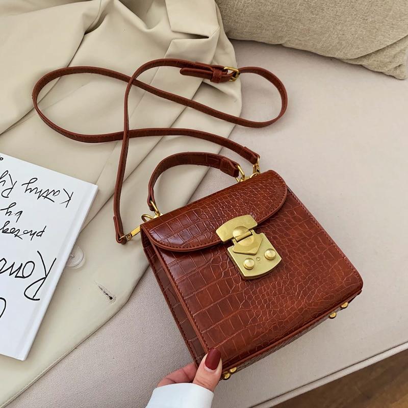 Mini Stone Pattern PU Leather Crossbody Bags For Women 2020 Lock Designer Shoulder Messenger Bag Female Travel Handbags