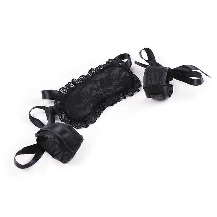 Sexy Black Lace Eye Mask Handcuffs Bracelet Women Babydoll Lingerie Sponge Sex Toys For Couple Fetish Erotic Accessories(China)