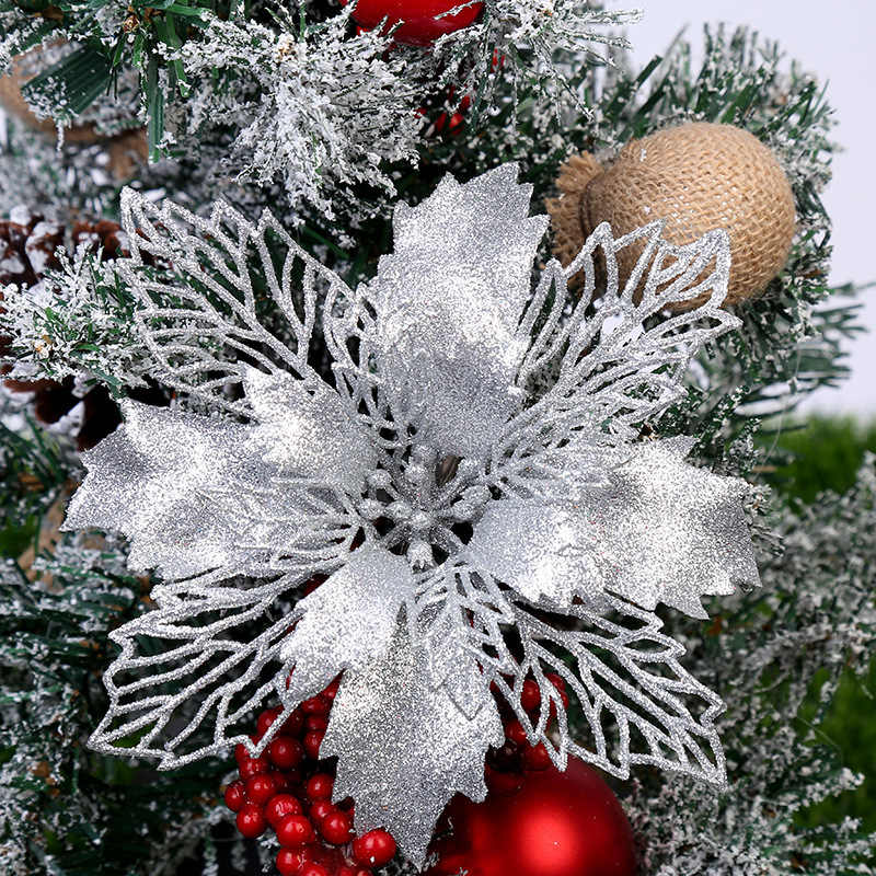 5PCS Artificial Christmas Flowers Glitter Fake Flower Merry Christmas Tree Decorations For Home 2020 Gift Xmas Ornament