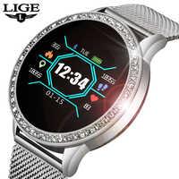 Lige novo relógio inteligente mulher ip67 rastreador de fitness pressão arterial monitor freqüência cardíaca pedômetro esportes smartwatch para android ios