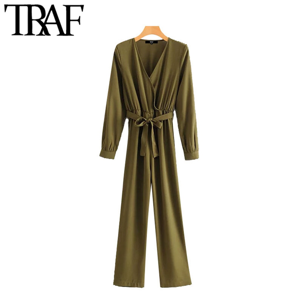 TRAF Women Vintage Stylish Office Wear Bow Tie Sashes Jumpsuits Fashion V Neck Long Sleeve Female Playsuits Chic Rompers Mujer