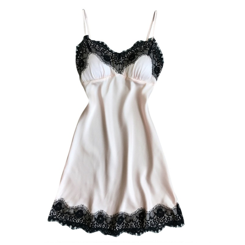 Women Nightdress SexyTemptation Sling Lace With Removable chest pad Nightgowns Cool Thin Sleepwear V Neck Nightdress in Babydolls Chemises from Novelty Special Use
