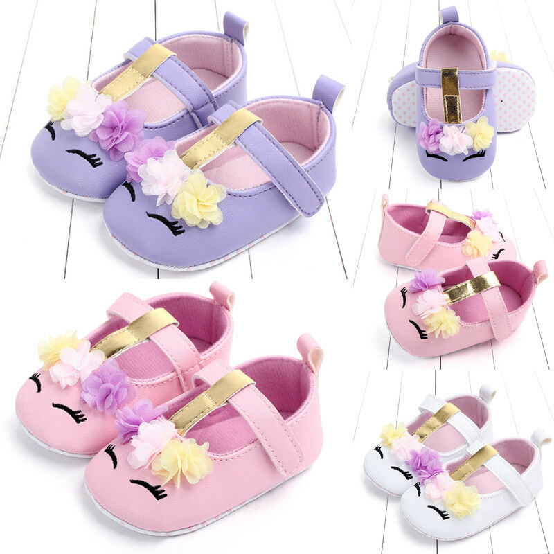 Newborn Baby Shoes Girls First Walkers Cartoon Eyes Floral Unicorn Shoes Soft PU Leather Crib Shoes Walking Flat Shoes 0-18M