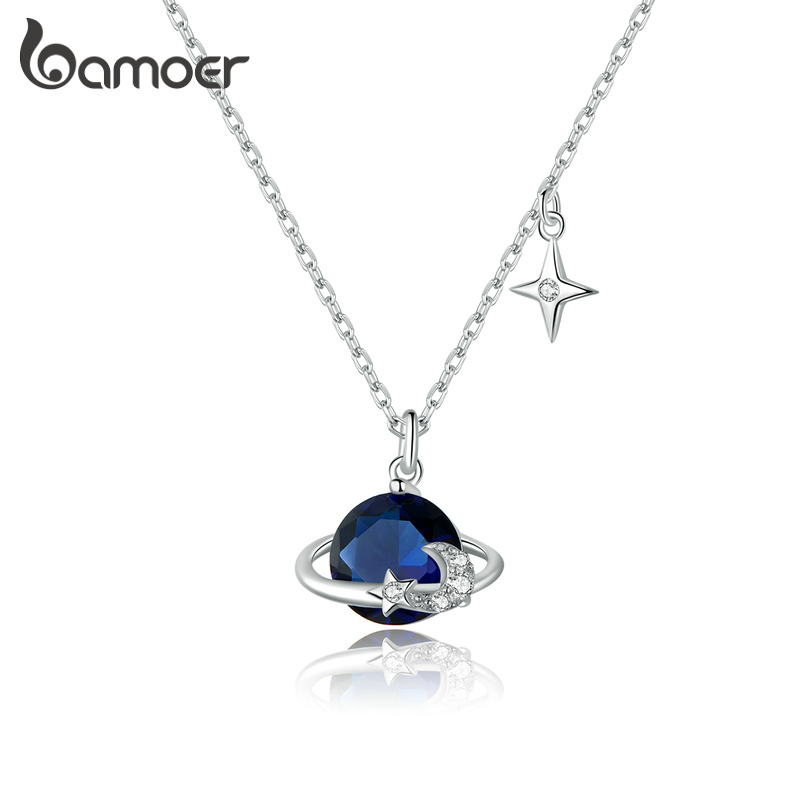 Bamoer 925 Sterling Silver Blue Planet Pendant Necklace For Women Stars Design Engagement Statement Jewelry Colllar BSN166