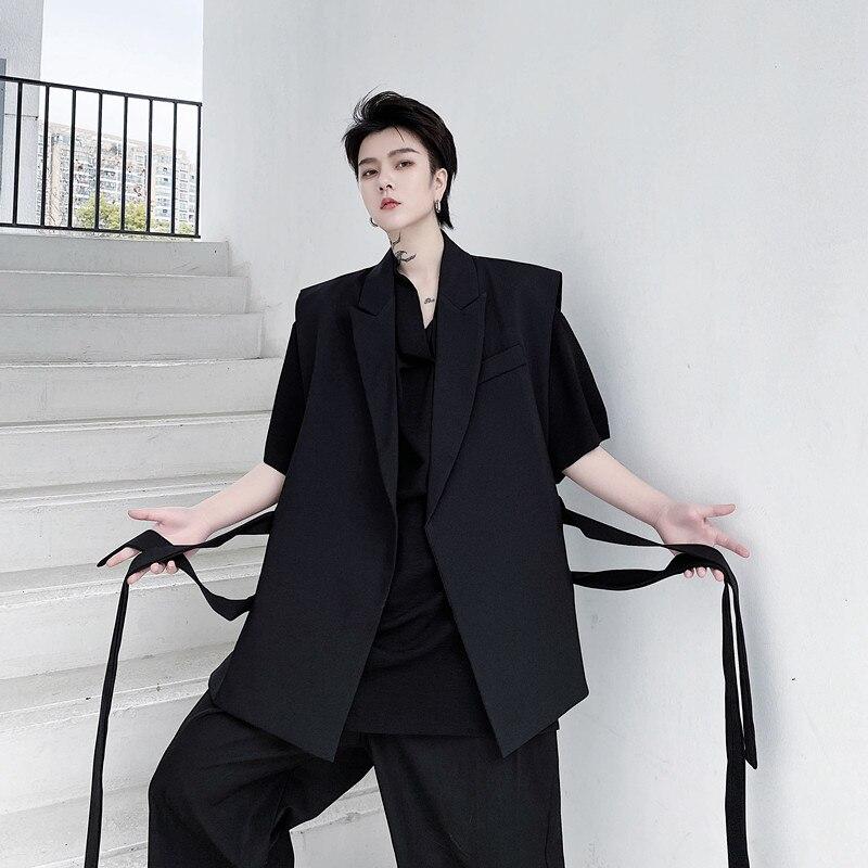 Men 2 Belts Suit Blazers Vest Male Women Unisex Japan Korea Streetwear Fashion Casual Loose Sleeveless Vests Waistcoat Jacket