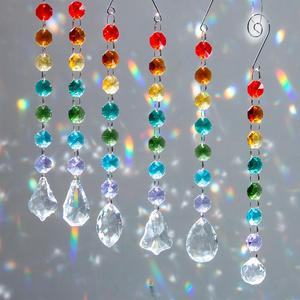 Image 2 - H&D Chakra Crystal Prisms Suncatcher with Multi Octagon Beads Window Hanging Ornaments Rainbow Maker Collection Decor,Pack of 6