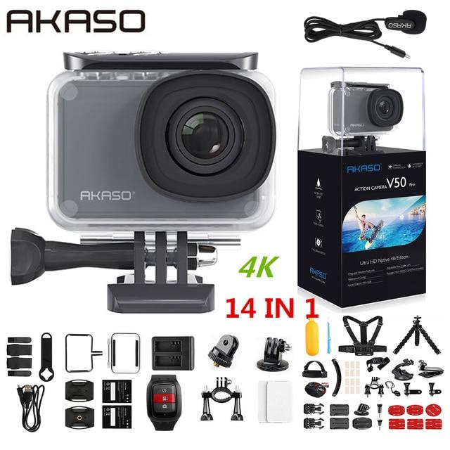 AKASO V50 برو الأصلي 4K/30fps 20MP واي فاي عمل الكاميرا EIS شاشة تعمل باللمس 30 متر مقاوم للماء 4k كاميرا رياضية دعم الخارجية مايكرو