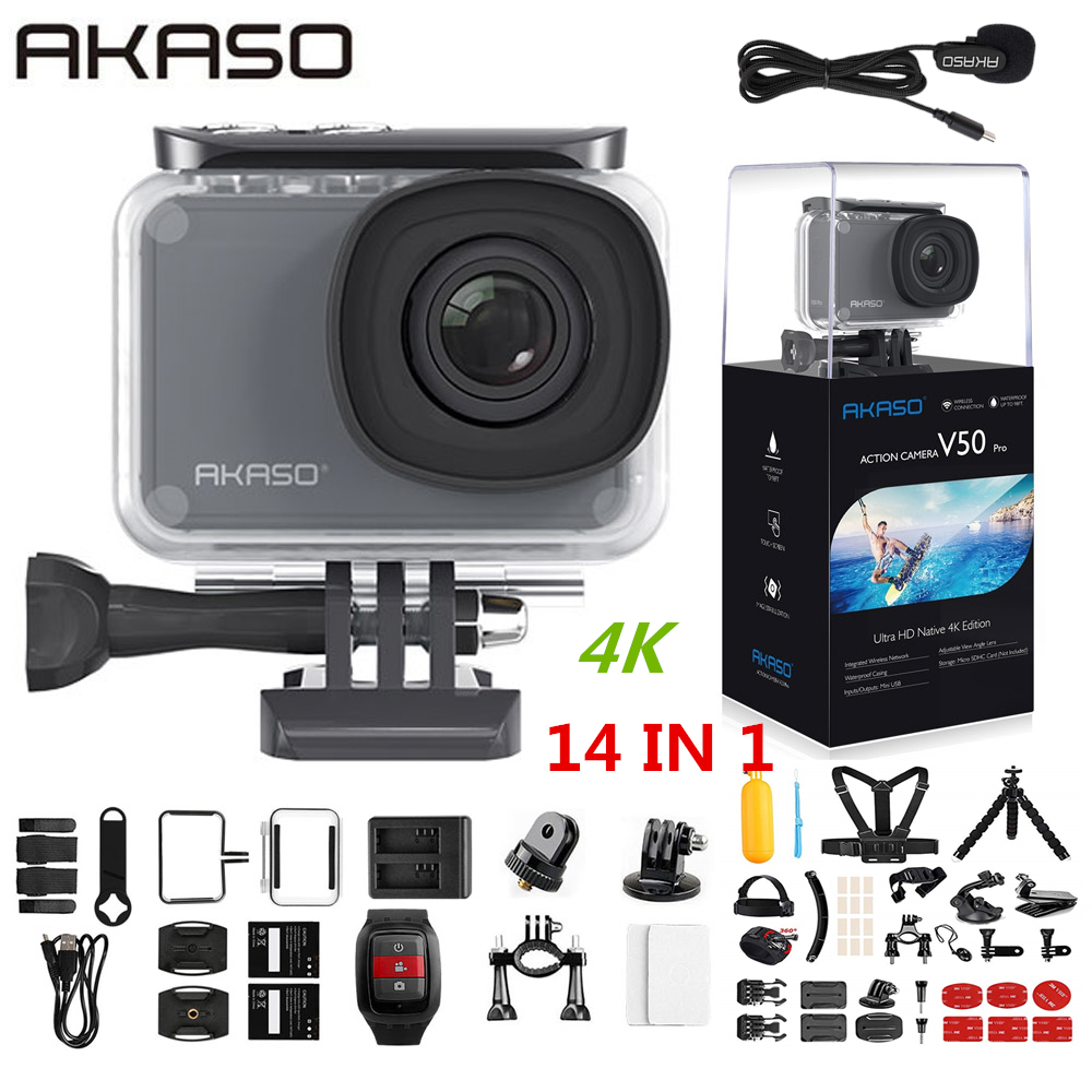 AKASO V50 Pro Native 4K/30fps 20MP WiFi Action Camera EIS Touch Screen 30m Waterproof 4k Sport Camera Support External Micro image