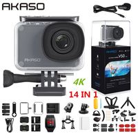 AKASO V50 Pro Native 4K/30fps 20MP WiFi Action Camera EIS Touch Screen 30m Waterproof 4k Sport Camera Support External Micro