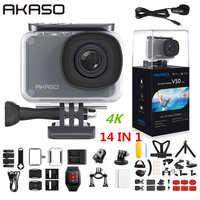 AKASO V50 Pro natywna 4 K/30fps 20MP WiFi kamera akcji EIS ekran dotykowy 30m wodoodporny 4k Sport uchwyt na aparat zewnętrzny mikro