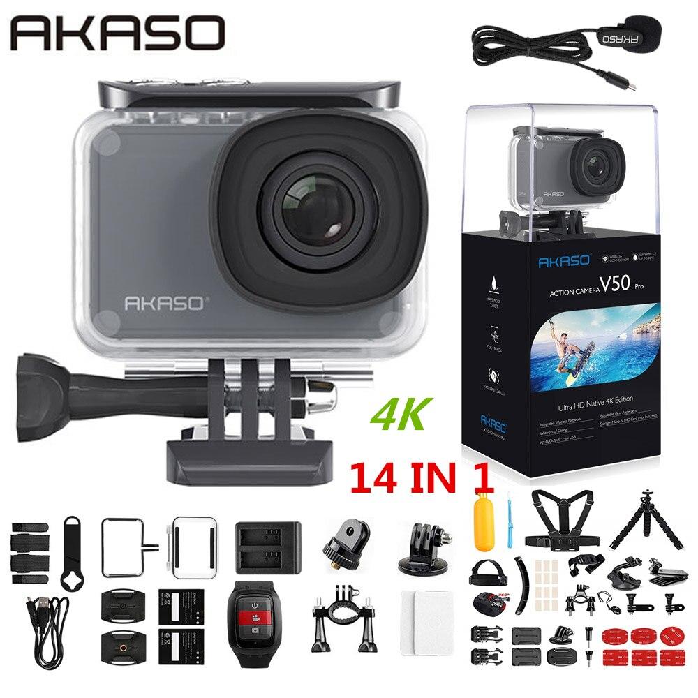 AKASO V50 Pro Native 4 K/30fps 20MP WiFi Action Camera EIS 4 30m À Prova D' Água da Tela de Toque k esporte Câmera Apoio Às Micro Externa