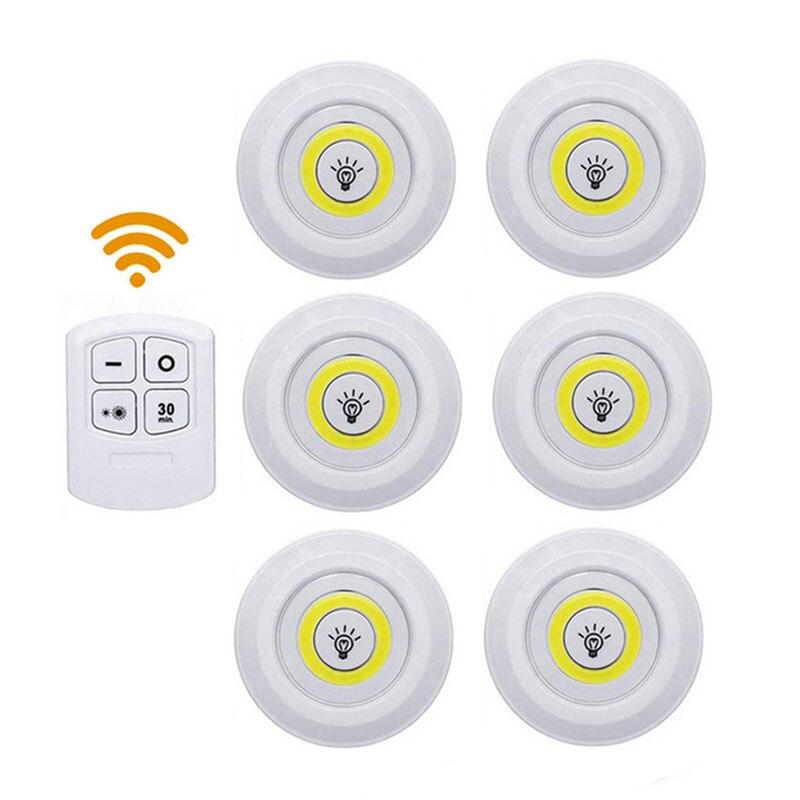 Luz LED regulable para debajo de gabinete con Control remoto de la batería operado de COB LED Puck luces para armario de baño SHGO-Invisible oculta RFID libre apertura inteligente Sensor armario cerradura armario guardarropa cajón del Gabinete Zapatero cerradura de puerta