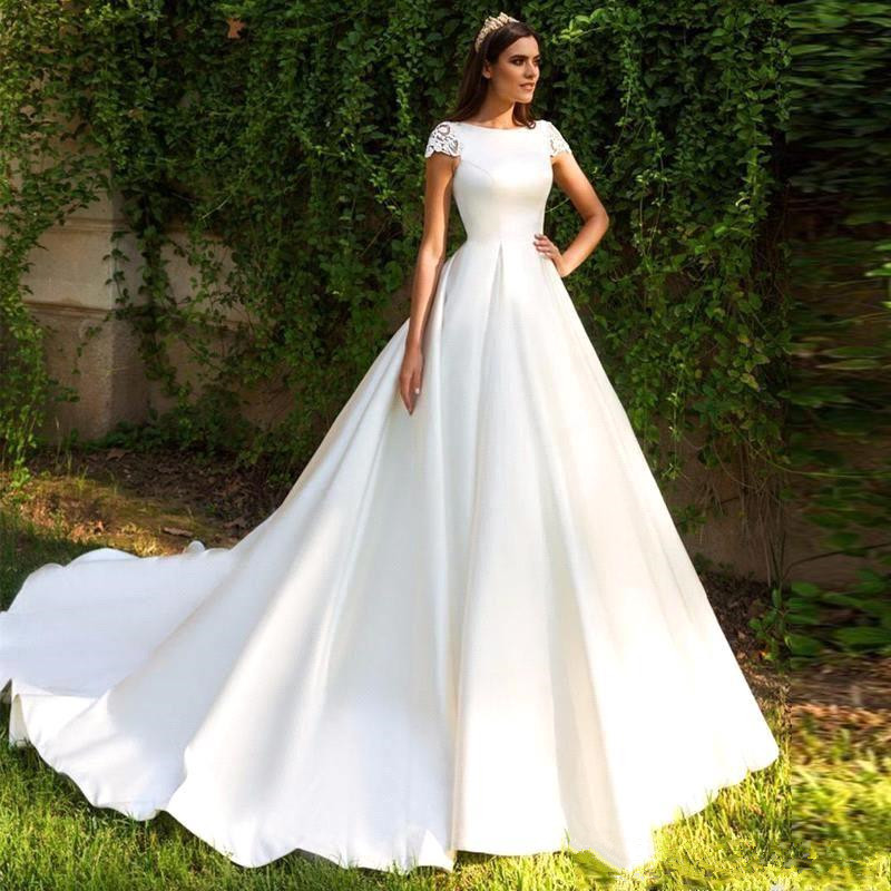 Vestido De Novia Elegant White Stain Wedding Dress Short Sleeves A Line Bride Wedding Gown Lace Applique Back Bridal Dress
