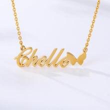 Ожерелье с подвеской бабочкой на заказ цепочка из нержавеющей