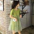 Vestidos Simples Vestidos de Verão 2019 das Mulheres doces Cor Sólida O-pescoço Vestido de Manga Curta Bolo Vestido A-Line Vestido De Costura Solto