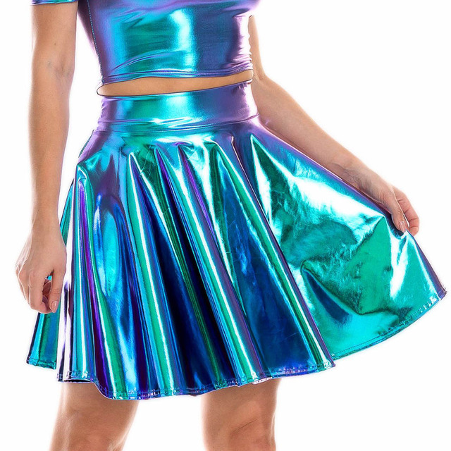 Summer Sexy Laser High Waist Mini PU Leather Skirt Club Party Dance Shiny Holographic Skirts Harajuku JK Metallic Pleated Skirts 3