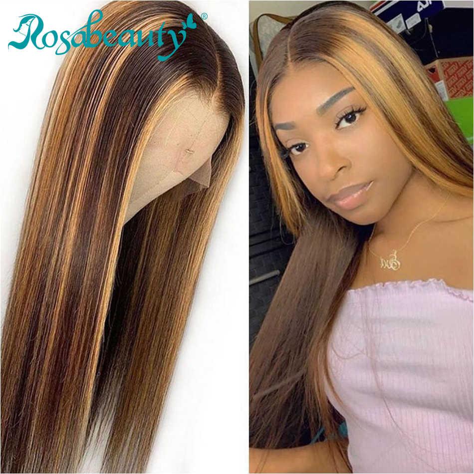 Rosabeauty グルーレスレースのフロント人間の髪かつら事前摘み取らブラジルストレートレミーフロントかつら黒人女性のための 26 インチオンブル