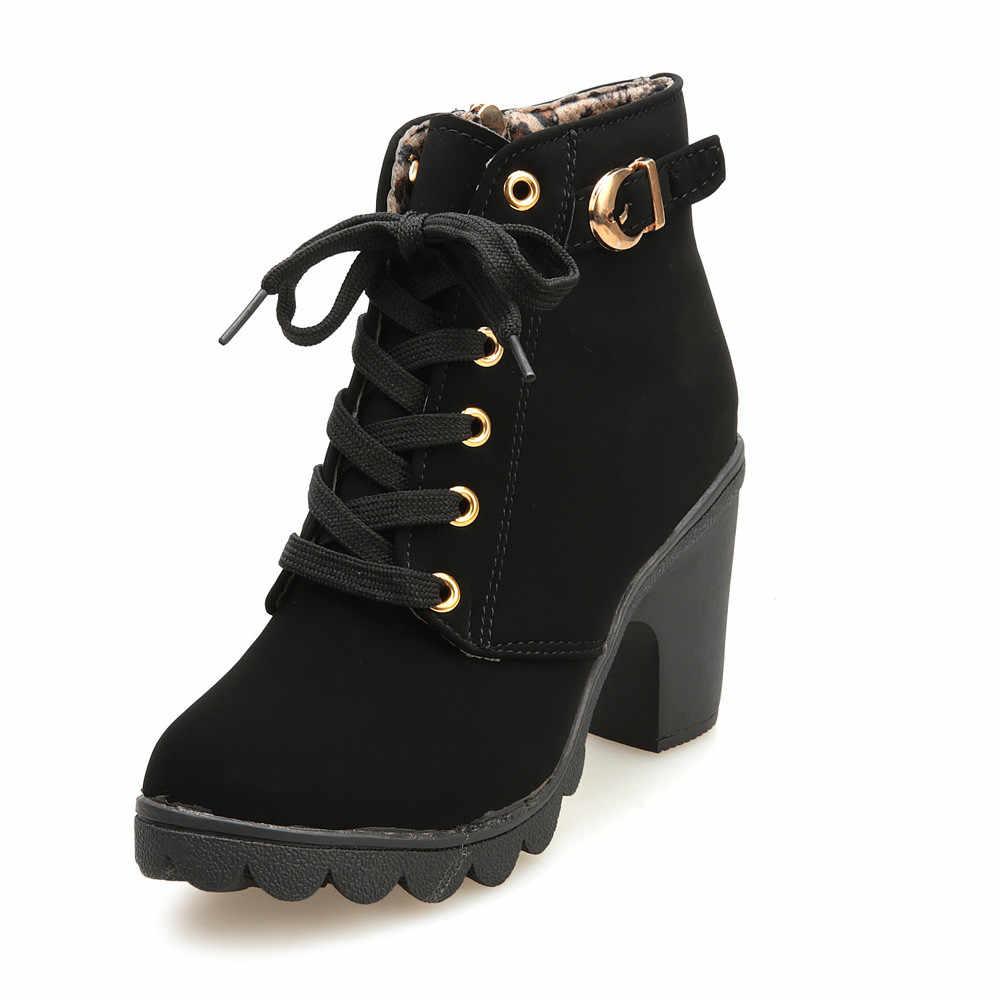 Kadın moda yüksek topuk ayak bileği bağcığı botları 2020 çizmeler kadın ayakkabıları bayanlar toka platformu yapay deri ayakkabı bota feminina