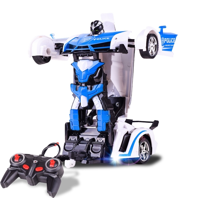 RC Car Transformation Robots Sports Vehicle Model Robots Police Car Toys Cool Deformation Car Kids Toys Gifts For Boys 4