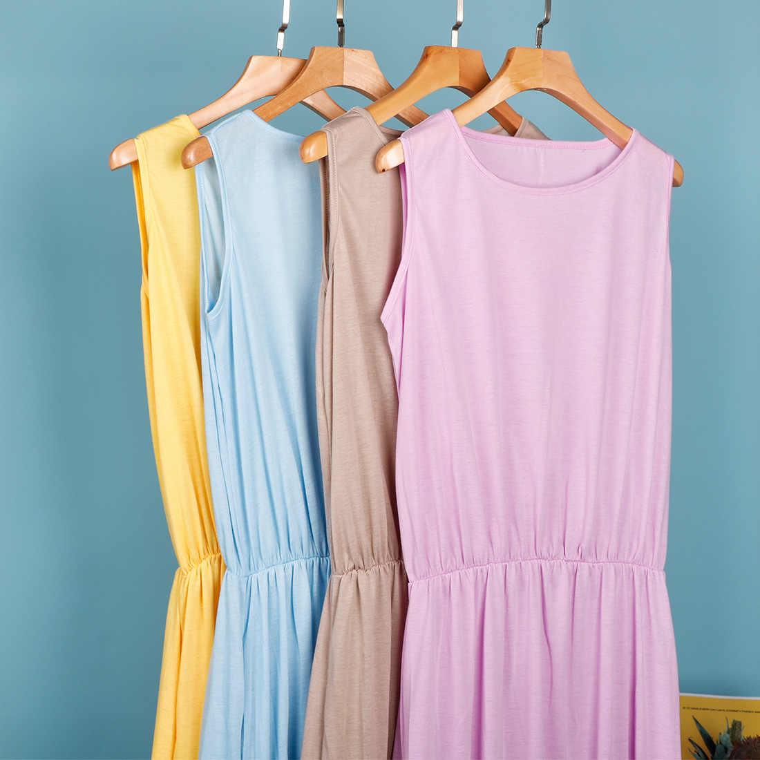 Patchwork Draped bölünmüş katı uzun elbise kadın büyük Hem o-boyun kolsuz moda kadın elbise 2020 yaz tatlı bayan Vestidos