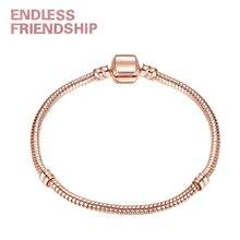 Hight Quality 17-21cm Rose Gold Color & Silver Snake Chain Charm Bead Fit Original Brand Bracelet Jewelry Gift For Women Gifts цена в Москве и Питере